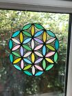 Flower of life stained glass window decoration suncatcher ornament