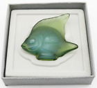 LALIQUE Crystal France Antinea Green ANGEL FISH Art Glass Sculpture in BOX