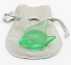LALIQUE Crystal France Green ANGEL FISH Art Glass Sculpture in Pouch