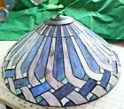 Tiffany Style Lamp Shade Stained Glass Leaded Light Ceiling Cobalt Blue 21x9