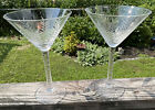HTF Tommy Bahama Glass Set Of 2 Etched Palm Leaves Martini Glasses