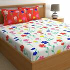 Floral Red 100 Cotton 1 Double Bedsheet with 2 Pillow Covers Set Of 180 TC