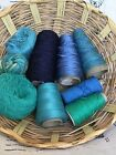 Lot of 9 Yarn Cones Skein Balls Wool Cotton Linen Rayon Chenille Total Wt 24
