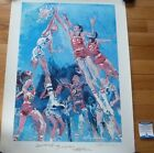 BECKETT LEROY NEIMAN TWICE AUTOGRAPHED-SIGNED 1975 HOOSIERS HOOPLA LITHOGRAPH 86