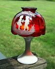 Westmoreland Mary Gregory Fairy Lamp Ruby Red Top Milk Glass Bottom Boy  Girl