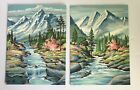 2 Vtg Paint by Number Mountain Stream Spring Flowering Trees Scenes 12 X 16