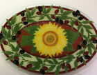 Peggy Karr Fused Glass Platter TUSCANY SUNFLOWER  OLIVES Serving Tray 12x17