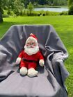 Vintage Mid Century Rubber Face Santa Clause Plush Doll blue eyes 19 Inches