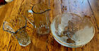 3 Glass Etched Flower Pitcher Embossed Frosted Cherries Gold Rimmed Bowl Vase