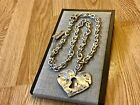 NWT Uno de 50 Silver plated LARGE Heart Pendant Necklace What do you see 529