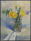ORIGINAL OIL PAINTING SPRING FLOWERS in GLASS STILL LIFE IMPRESSIONISM REALISM