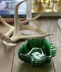 Set Of Four Vintage Emerald Green Glass Maple Leaf Candy Nut Dishes By Fire King