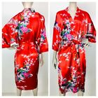 Vintage Oriental Villiage Silk Collection Womens Red Floral Peacock Robe
