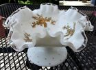 Fenton Art Glass Silver Crest Compote with Gold Roses Decal Decoration by Lotus