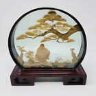 Large Vintage Asian hand Carved Cork Scene in Glass Display Shadow Box 18
