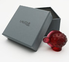 Breathtaking LALIQUE France RED Crystal PUFFER FISH Art Glass SCULPTURE in Box