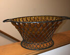 Vintage Caged Hand Blown Amber Glass Wrought Iron Stand Bowl Centerpiece Decor