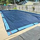 Winter Block Inground Pool Winter Cover Fits 16 x 36 Rectangle Solid Blue
