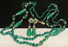 Miriam Haskell Set Rare Vintage Signed Green Glass R S Opera Necklace Earrings