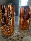 Set of 2 8 mercury glass Fall etched leaves hurricanes pumpkin color