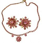 Vintage Necklace Rhinestone Pink Matching Set With Earrings