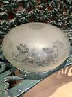 Gorgeous Art Nouveau Mushroom Dome Domed Lamp Shade Frosted Glass Antique