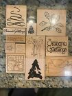 Lot 12 JRL Design Co DOTS Rubber Wood Stamp Christmas Tree Angel xmas words
