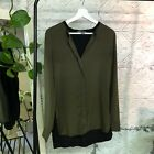 Vince Silk Tunic Blouse Button Up Band Collar V Neck Olive Green Black Size 8