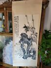VERY RARE 19C ANTIQUE OLD CHINESE WATERCOLOR LONG HANGING SCROLL