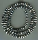 African Trade beads Vintage Venetian old glass black white fancy dog tooth beads