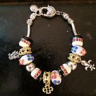 Pandora Multicolor Bracelet 9 Murano Glass Beads 3 Silver Charms 71 inches