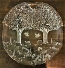Kosta Boda Vtg Clear Frosted Art Glass Heavy Relief Freeform Woodlands Charger