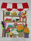 Vtg Completed Crewel Embroidery FRENCH FLOWER CART STAND 21 X 25