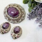 Vintage W GERMANY Pink Glass White Lacy Filigree Brooch Clip Earrings Set Signed
