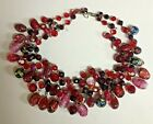 Vintage Dbl Std Red Glass Runway Necklace w Peacock Foil  Wedding Cake Beads