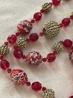 Vintage Red Glass Murano Wedding Cake Ladies Cocktail Necklace 34