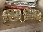 Lot Set Vintage Glass Ashtray Gold Filigree Footed Stands Regency Style STUNNING