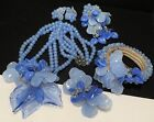 Miriam Haskell Set Rare Vintage Blue ALL Glass 5 Pc Parure Early Unsigned A7