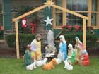 Empire Nativity Blow Mold Set 13 piece with Creche for Jesus Good Condition