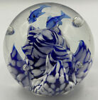 Glass Paperweight Hand Blown with Dolphins Blue White Beautiful 35