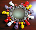 Vintage Sterling Charm Bracelet Glass Cat Charms Rainbow Stone Beads