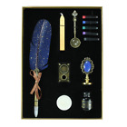 12pc 25cm Blue Gold Feather Calligraphy Pen Set with Ink Cartridges Wax Stamp