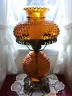 Vintage Amber Hobnail Glass Lamp Electric 3 Way Switch Light 23 Tall Complete