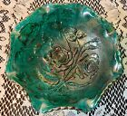 Imperial Carnival Glass Green Footed Candy Dish Roses Ruffled Edge New