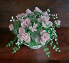 Vintage French Glass Beaded Flowers Roses w Babys Breath in White China Bowl