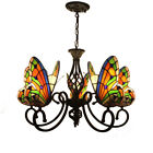 Tiffany Butterfly Stained Art Glass Chandelier Ceiling Lamp Dining Room 5 Lights