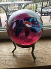 Vtg 1993 Art Glass Large Paperweight w Brass Stand Signed Stunning Jelly Pink