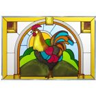 Rooster Chicken Art Glass Window Panel Country Farmhouse Decor 205W