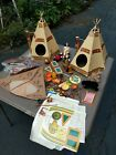 Native American toy lot canoe accessories animals spare stickers and Figures