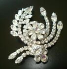 VINTAGE WEISS CLEAR GLASS RHINESTONE BROOCH DECO SIGNED